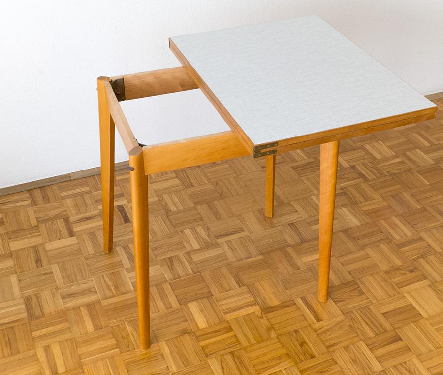 Küchen-Ess-Tisch Buchenholz Resopal 1950er Midcentury
